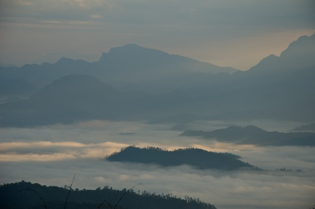 Huai Nam Dung. Beautiful Sunrise with sea of mist in the Northern of Thailand,  Chiang Mai ,thailand Stock Photo - 11562305