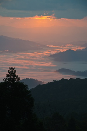 Huai Nam Dung. Beautiful Sunrise with sea of mist in the Northern of Thailand,  Chiang Mai ,thailand Stock Photo