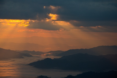 Huai Nam Dung. Beautiful Sunrise with sea of mist in the Northern of Thailand,  Chiang Mai ,thailand photo
