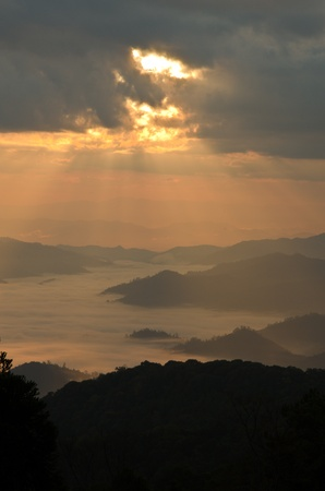 Huai Nam Dung. Beautiful Sunrise with sea of mist in the Northern of Thailand,  Chiang Mai ,thailand Stock Photo - 11562416