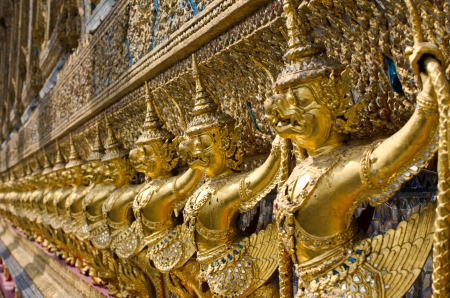 Garuda in Wat Phra Kaew Grand Palace of Thailand to find. photo
