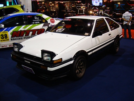 BANGKOK - DECEMBER 5:  Toyota AE86 car on display at the 28th Thailand International Motor Expo on December 5, 2011 in Bangkok, Thailand.