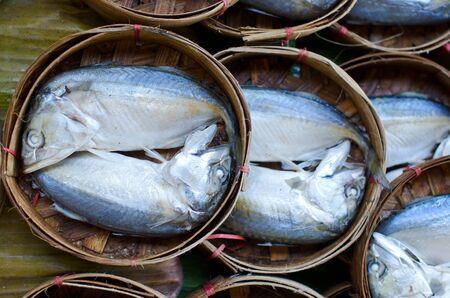 Mackerel fish in bamboo basket at market, Thailand Stock Photo - 11991462
