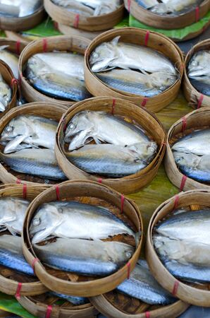 Mackerel fish in bamboo basket at market, Thailand Stock Photo - 11991463