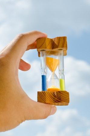 Colorful hourglass sand timer in hand of man on the sky photo