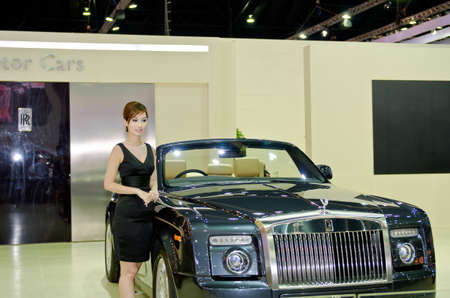 BANGKOK - MARCH 31: Rolls-Royce car with unidentified model on display at The 33th Bangkok International Motor Show on March 31, 2012 in Bangkok, Thailand.