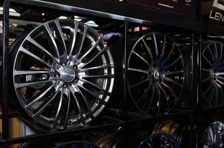 magneto: BANGKOK - MARCH 27: Lenso wheels on display at The 33th Bangkok International Motor Show on March 27, 2012 in Bangkok, Thailand.