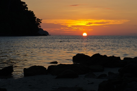 Tropical sunset at Surin island national park in Thailand Stock Photo - 13249299