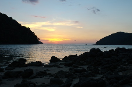 Tropical sunset at Surin island national park in Thailand Stock Photo