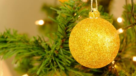 New Years and Christmas themes.Beautiful light tree decorated. Stock Photo