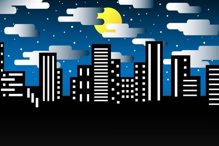 Night city vector illustration makes you feel lonely lonely, abstract background.