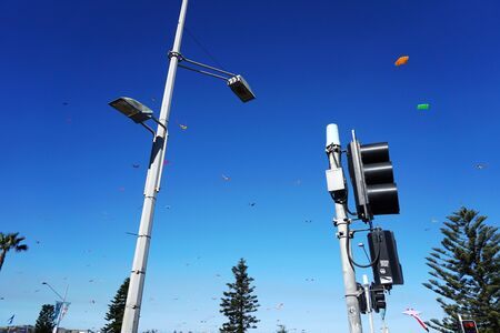 Wind festival at Bondi beach, Sydney, Australia on 10 September 2017. Colorful kites in the sky as famous event at Bondi beach, Sydney call Wind Festival. 스톡 콘텐츠 - 136694240
