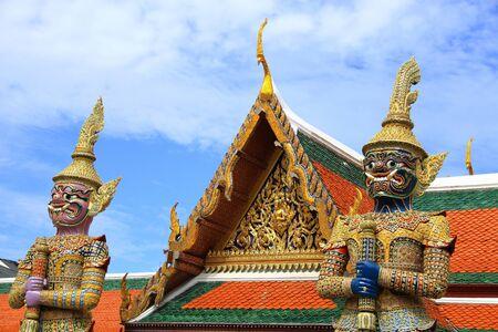 gaurd: Statue two gaurd giant at Wat Phra Kaew in Bangkok, Thailand. Stock Photo