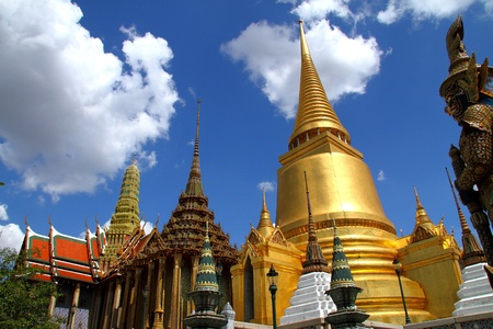 Golden pagoda and monastery of Wat Phra Kaew in Bagkok, Thailand photo