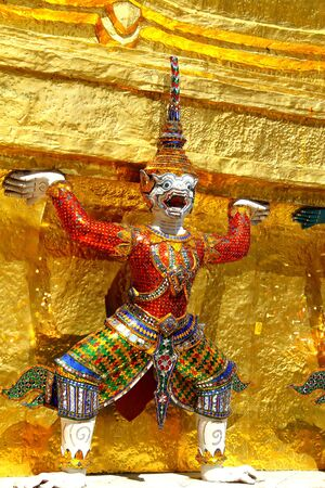 Statue red monkey in story Ramayana at Wat Phra Kaew in Bangkok,Thailand. photo