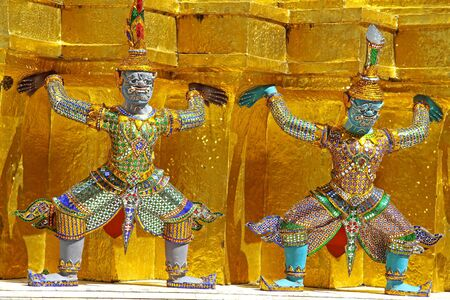 Two statue giant in story Ramayana at Wat Phra Kaew Bangkok, Thailand photo