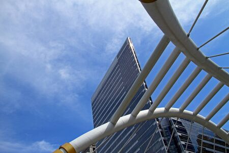 Blue sky and cloud with building, stairs at Chongnunzee in Bangkok, Thailand photo