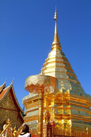 Blue sky on Wat Phra That Doi Suthep, are temple in Chiang Mai, Thailand   photo