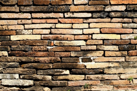 The wall with old brick in ancient tempe of county Cheaing Mial, Thailand Stock Photo - 13585178