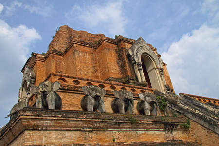 Detail of pagoda Jadee Loung temple build with ancient brick in Chiangmai Thailand   photo