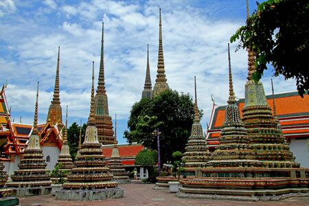 Wat Pho temple, is famous with sharp pagoda in Bangkok, Thailand   photo