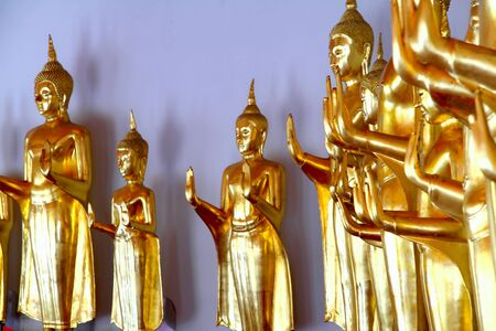 Buddha golden statue blessing hand, Wat Pho temple, Bangkok, Thailand  photo