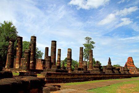 Ancient ruins of Wat Phra Pai Luang in Sukhothai Historical park, Thailand  photo
