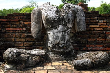 Ruins statue buddha of Wat Phra Pai Luang in Sukhothai Historical park, Thailand  photo