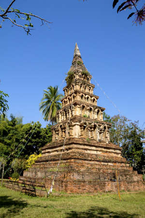 Old pagoda make with ancient brick at Wat Phaya Wat, Nan,Thailand photo