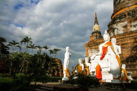Statue buddha and  group follower in Watyaichimongkol temple, at Ayutthaya Thailandiland