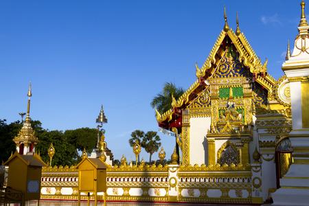 dyllic: Church of Wat Prahat Panom, at Nakornpanom province, northeastern of Thailand Stock Photo