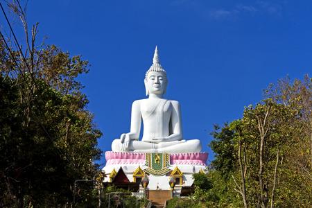 godhead: White statue big buddha with blue sky at  Khon Kaen country Thailand