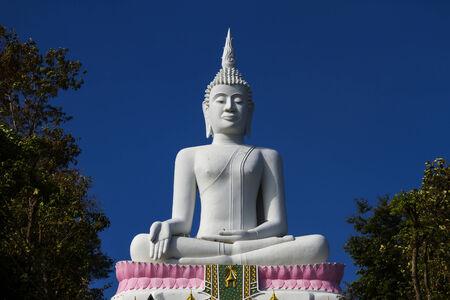 godhead: White big buddha statue with blue sky at  Khon Kaen country Thailand