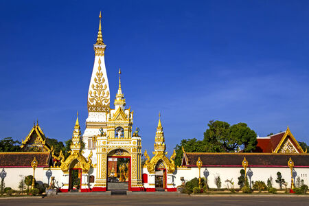 northeastern: Wat  Phra That Phanom whit  sky, at Nakorn Phanom province, northeastern of Thailand