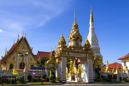northeastern: Wat Mahathat temple with shap architecture, Nakhon Phanom Province,  northeastern of Thailand.