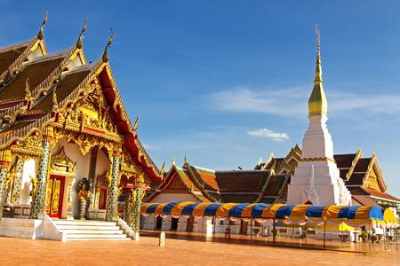 northeastern: Wat Pra That Choeng Chum temple with golden architecture ,Sakon Nakhon Province , northeastern of Thailand. Stock Photo