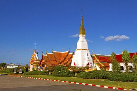 northeastern: Idyllic white Wat Pra That Choeng Chum Worawihal temple with sky ,Sakon Nakhon Province , northeastern of Thailand.