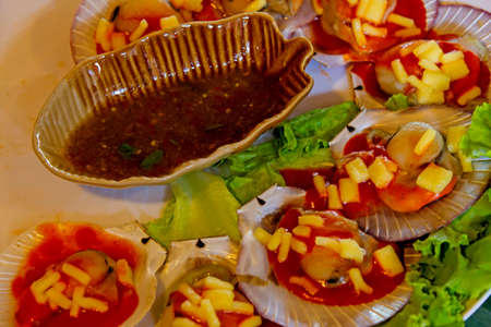 Oyster fruit and vegetable mix with sauce, Is food of Thailand photo