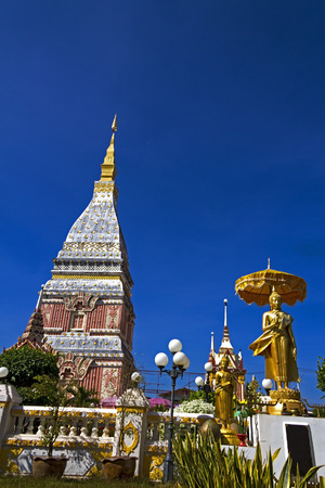 northeastern: Chedi Phra That Renu temple with blue sky, Nakhon Phanom Province,  northeastern of Thailand