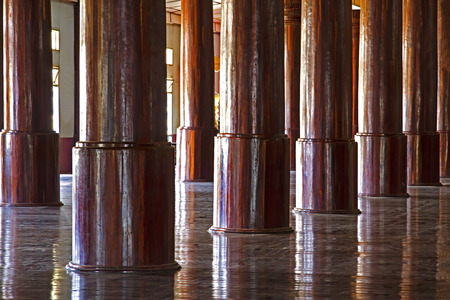 Pole wooden row round  is made from teak,Wat Sou Phun Ton, In  Myanmar Editorial