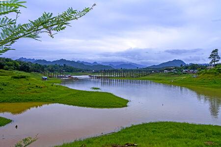 Yellow lake before rains at sangklaburi, kanchanaburi, Province Asia thailand photo