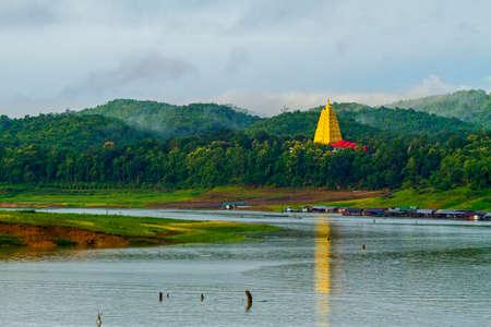 rains: Gold morning after rains at sangklaburi, kanchanaburi, Province Asia thailand