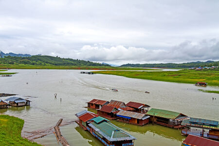 The rafts and small boats travel at sangklaburi, kanchanaburi, Province Asia thailand photo