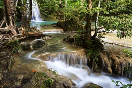 water scape: Erawan Waterfall with blue and white water in Kanchanaburi, Thailand