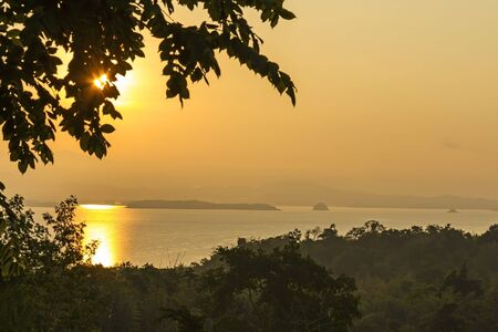 black   shadow: Sunrise at river with black shadow in village of  Kanchanaburi Province Thailand.