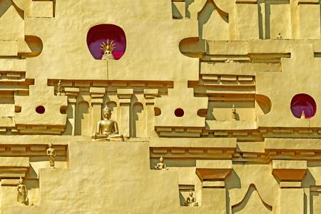 Bodhgaya with detail at Wangvivagegaram Temple, Sangkhla Buri, Kanchanaburi Province , Thailand