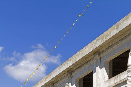 Building and blue sky at Wangvivagegaram Temple, Sangkhla Buri, Kanchanaburi Province , Thailan Stock Photo