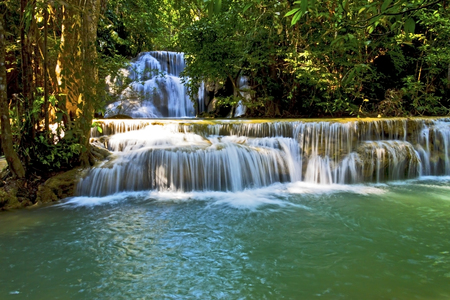 kamin: Water emerald and white of Hui Mae Kamin Waterfall, Kanchanaburi, Thailand