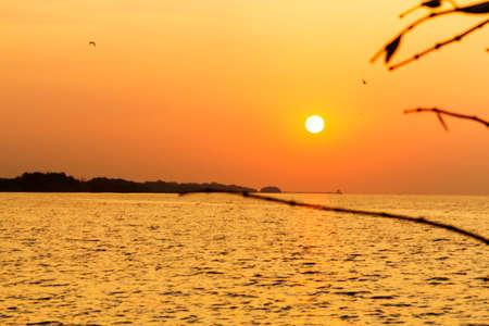 pu: Sunrise morning on beach at Bang Pu Seaside of Thailand