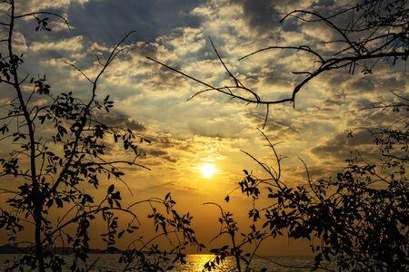 pu: Sunrise silhouette morning on beach at Bang Pu Seaside of Thailand